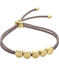 Monica Vinader Linear Bead 18Ct Gold Plated Friendship Bracelet Silver