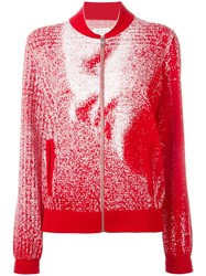 Maison Martin Margiela Pixelated Pattern Cardigan Red