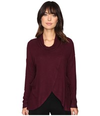Culture Phit Leona Long Sleeve Cowl Neck Sweater With Pockets Wine Women's Sweater Burgundy