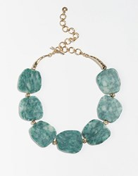 Pilgrim Statement Faceted Stone Necklace Gold Green
