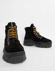 Bronx Black Suede Chunky Hightop Trainers