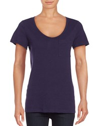 Lord And Taylor Petite Solid Scoopneck Cotton Slub Tee Evening Blue