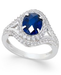 Macy's Lab Created Blue Sapphire 2 Ct. T.W. And White Sapphire 3 4 Ct. T.W. In Sterling Silver