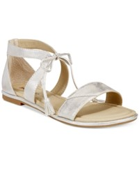Rialto Robyn Lace Up Flat Sandals Women's Shoes Siver Metallic