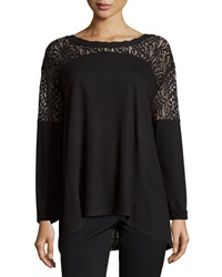 Neiman Marcus Lace Panel Long Sleeve Tunic Black