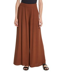 Eileen Fisher Silk Georgette Wide Leg Pants Nutmeg