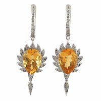 Meghna Jewels Claw Single Drop Earrings Citrine And Diamonds Silver Yellow Orange