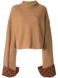 Jejia Polka Dot Trim Jumper Brown