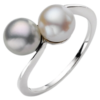 A B Davis 9Ct White Gold Pearl Cross Over Ring Grey