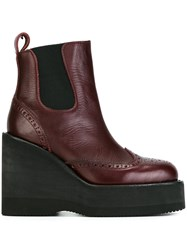 Sacai Perforated Wedge Ankle Boots Red