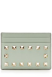 Valentino Leather Rockstud Card Holder Turquoise