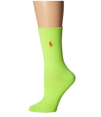 Lauren Ralph Lauren Waffle Texture Crew Lime Women's Crew Cut Socks Shoes Green