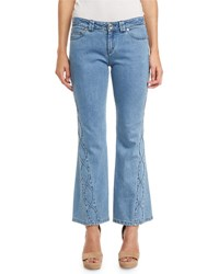 See By Chloe Embroidered Cropped Flare Jeans Blue