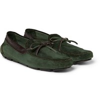 Berluti Vendome Suede Driving Shoes Green