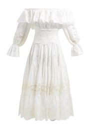 Dolce And Gabbana Tiered Lace Panelled Cotton Blend Dress White