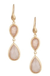 Rivka Friedman 18K Gold Clad Double Teardrop Faceted Rose Quartz Dangle Earrings Pink