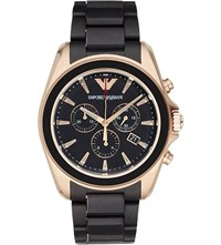 Emporio Armani Ar6066 Gold Plated Stainless Steel Watch Bk1 Black 1