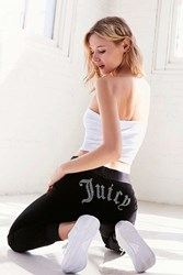 Juicy Couture For Uo Gothic Crystal High Rise Velour Track Pant Black