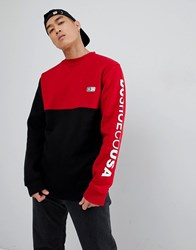 Dc Shoes Cut And Sew Sweatshirt In Black And Red