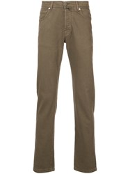 Kiton Casual Straight Leg Trousers Brown