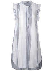Stella Mccartney Striped Sleeveless Dress Women Cotton Cupro 40 Grey