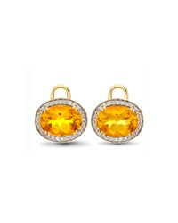 Oval Citrine And Diamond Earring Drops 18K Yellow Gold Kiki Mcdonough