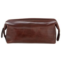 John Lewis Made In Italy Leather Wash Bag Brown