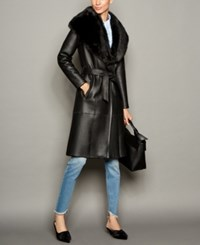 The Fur Vault Shearling Lamb Belted Coat Black
