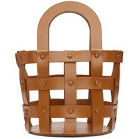 Building Block Brown Small Woven Basket Bag