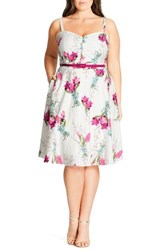 City Chic Plus Size Women's 'Open Rose' Belted Floral Fit And Flare Dress Vintage Posey
