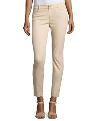 Minnie Rose Skinny Stretch Twill Ankle Pants Khaki