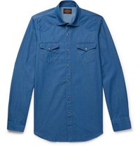 Tod's Cotton Chambray Shirt Blue