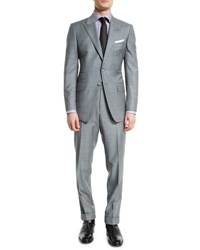 Tom Ford O'connor Base Sharkskin Two Piece Suit Light Gray Light Grey