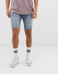 River Island Denim Shorts With Rips In Light Blue Wash