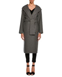 Tom Ford Cashmere Belted Coat With Hood Gray