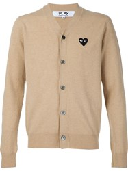 Comme Des Gara Ons Play Buttoned Cardigan Nude And Neutrals