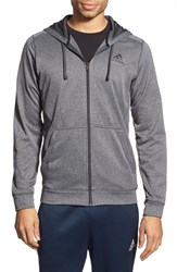 Men's Adidas 'Ultimate' Full Zip Fleece Hoodie Grey Heather Solid Grey Black