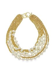 Kenneth Jay Lane 6 Row Pearl Chain Short Necklace Gold
