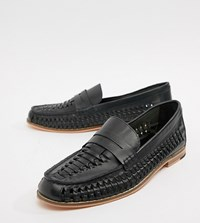 Frank Wright Wide Fit Woven Loafers In Navy Leather