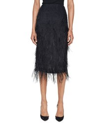 Jason Wu Ostrich Feather Pencil Midi Skirt Black