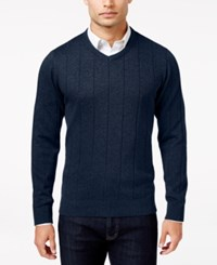 John Ashford Men's Big And Tall V Neck Striped Texture Sweater Only At Macy's Navy Blue