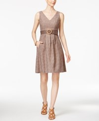 Nine West Cotton Belted Fit And Flare Dress Pebble