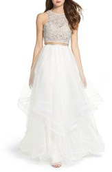 La Femme Women's Embellished Lace Two Piece Gown Ivory
