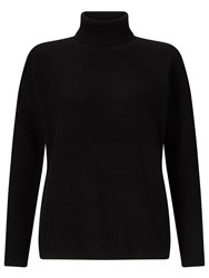 John Lewis Cashmere Ribbed Roll Neck Jumper Black