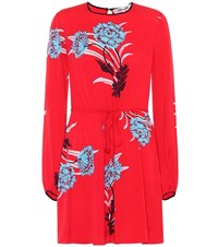 Diane Von Furstenberg Printed Stretch Silk Minidress Red