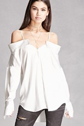 Forever 21 Satin Open Shoulder Shirt White