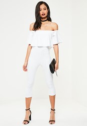Missguided White Double Layer Bardot Cropped Jumpsuit