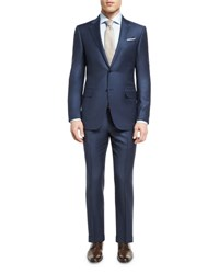 Ermenegildo Zegna Tonal Check Two Piece Suit Blue