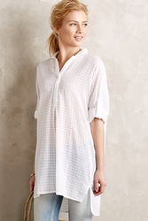 Maeve Paned High Low Buttondown White