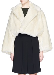 Toga Archives Notched Lapel Cropped Faux Fur Jacket Neutral